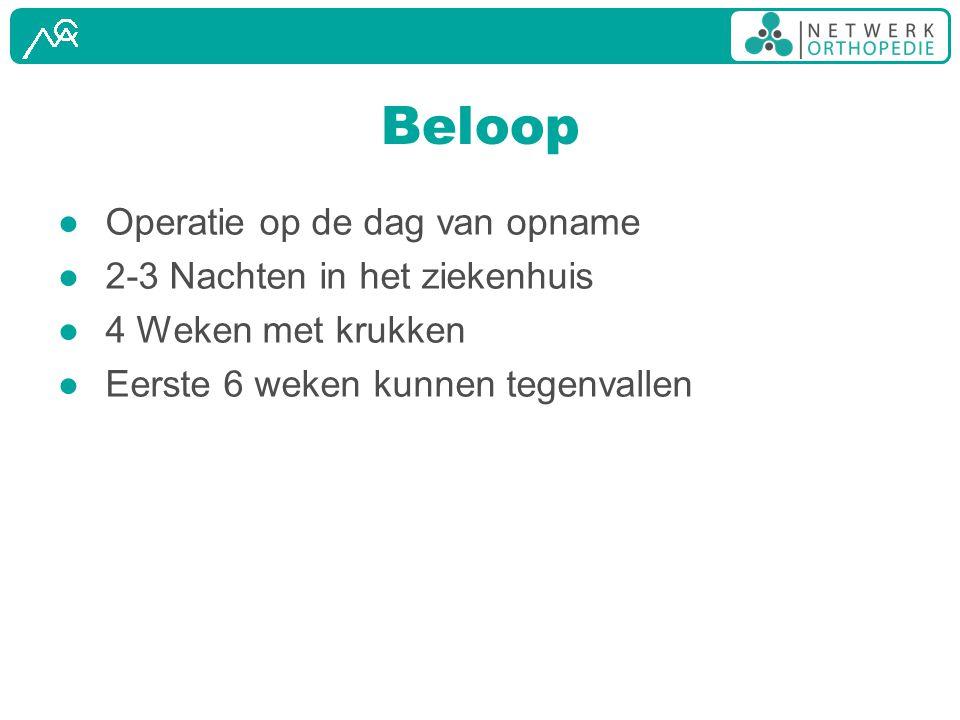 Beloop Operatie op de dag van opname 2-3 Nachten in het ziekenhuis