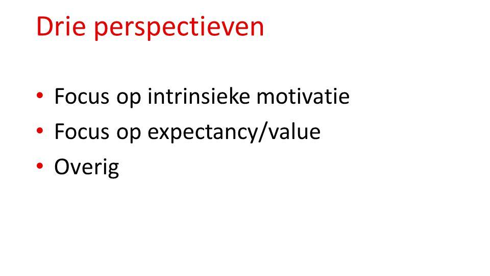 Drie perspectieven Focus op intrinsieke motivatie