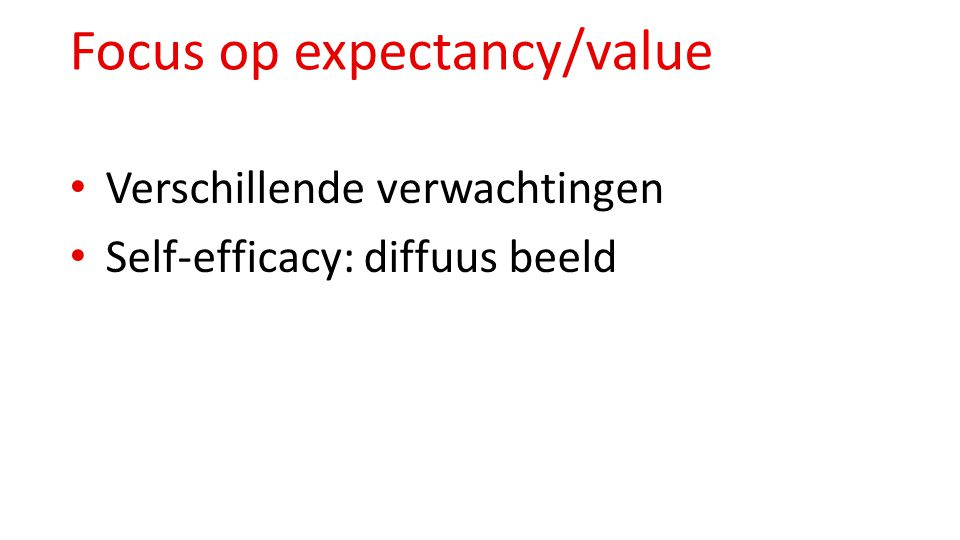 Focus op expectancy/value
