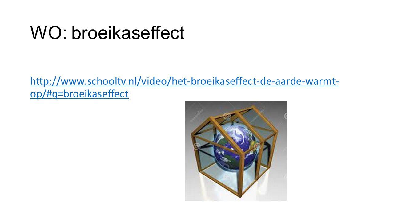 WO: broeikaseffect http://www.schooltv.nl/video/het-broeikaseffect-de-aarde-warmt- op/#q=broeikaseffect.