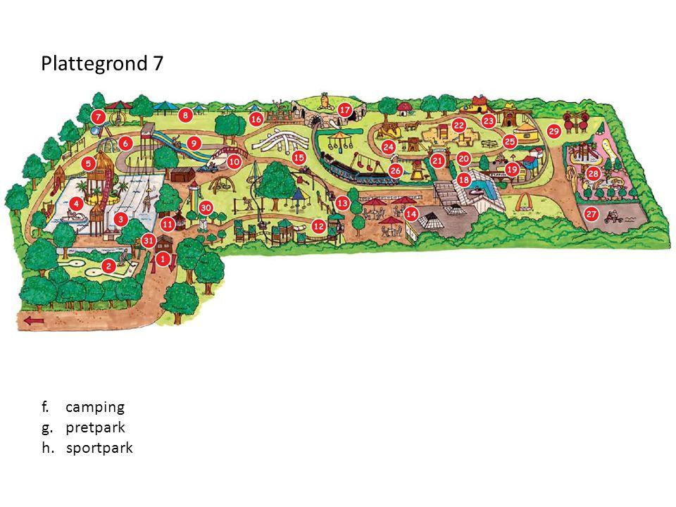 Plattegrond 7 f. camping g. pretpark h. sportpark