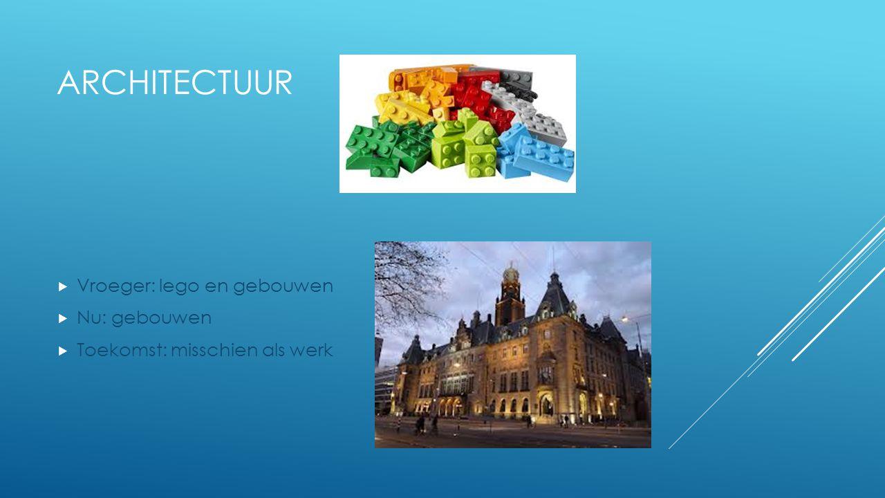 Architectuur Vroeger: lego en gebouwen Nu: gebouwen