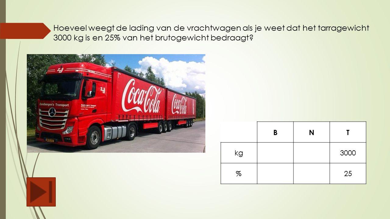 Hoeveel weegt de lading van de vrachtwagen als je weet dat het tarragewicht 3000 kg is en 25% van het brutogewicht bedraagt