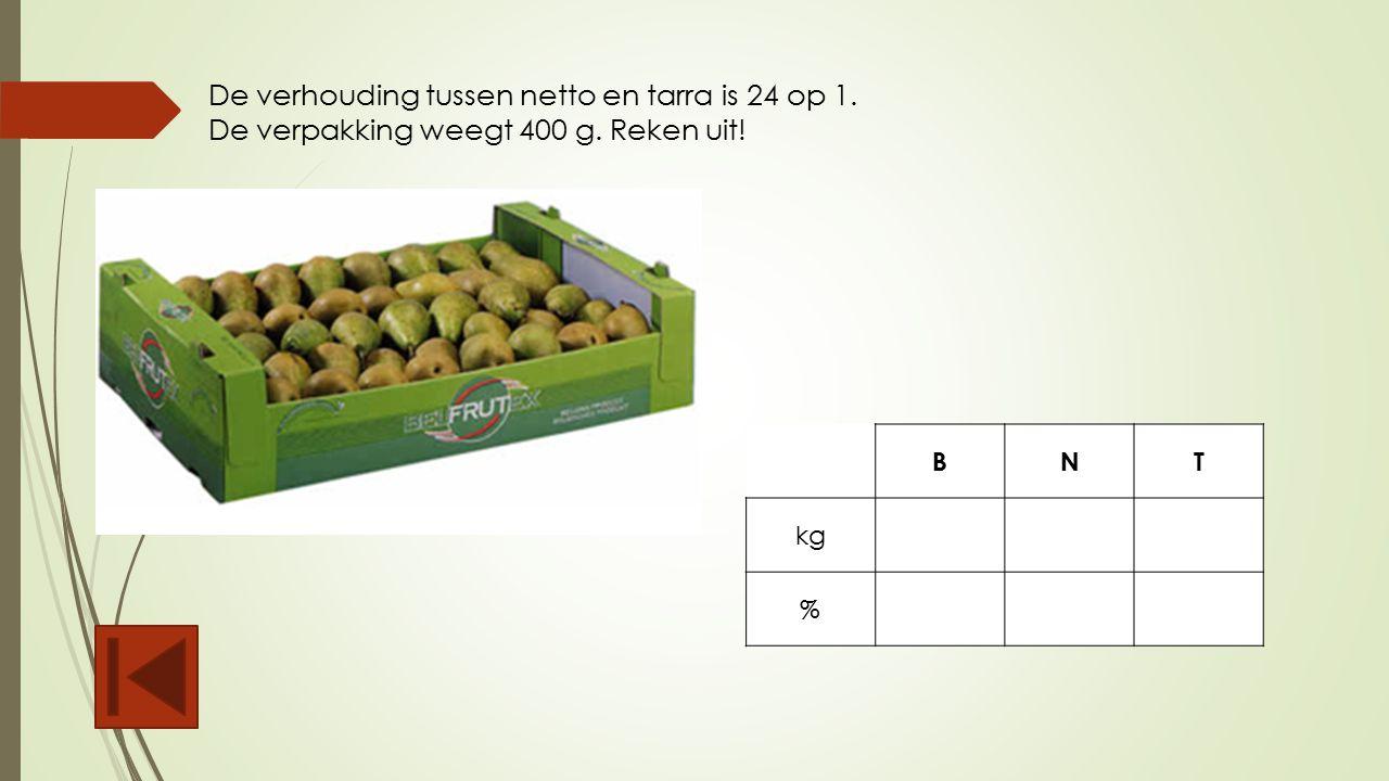 De verhouding tussen netto en tarra is 24 op 1.