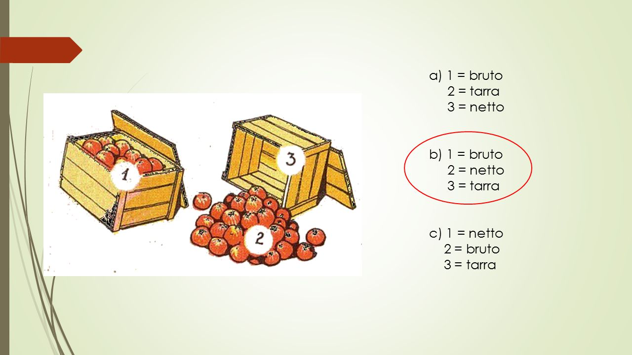 a) 1 = bruto 2 = tarra 3 = netto b) 1 = bruto 2 = netto 3 = tarra c) 1 = netto 2 = bruto