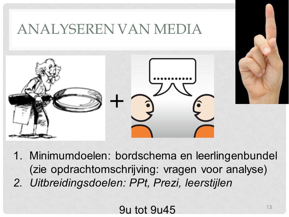Analyseren van media + Minimumdoelen: bordschema en leerlingenbundel (zie opdrachtomschrijving: vragen voor analyse)