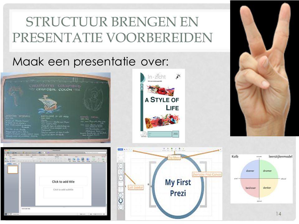 Structuur brengen en presentatie voorbereiden