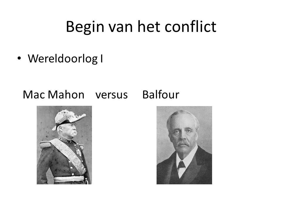 Begin van het conflict Wereldoorlog I Mac Mahon versus Balfour