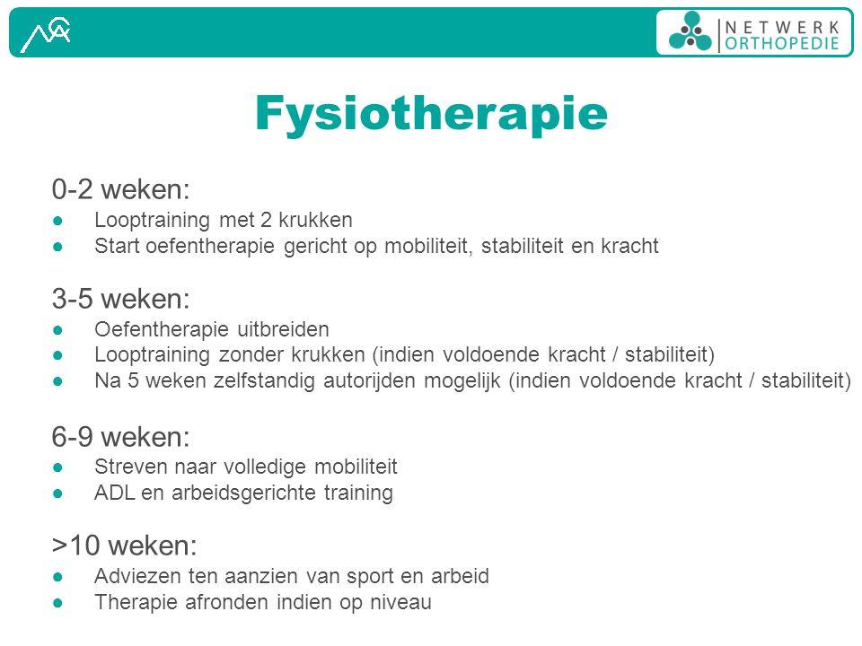 Fysiotherapie 0-2 weken: 3-5 weken: 6-9 weken: >10 weken: