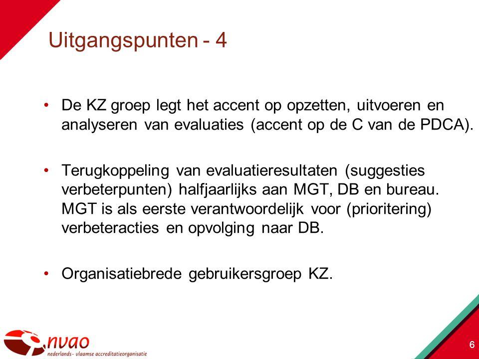 Uitgangspunten - 4 De KZ groep legt het accent op opzetten, uitvoeren en analyseren van evaluaties (accent op de C van de PDCA).