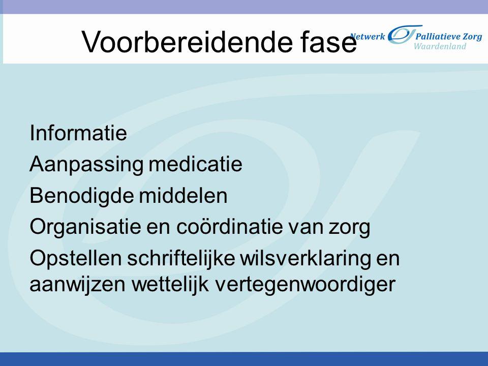 Voorbereidende fase Informatie Aanpassing medicatie Benodigde middelen