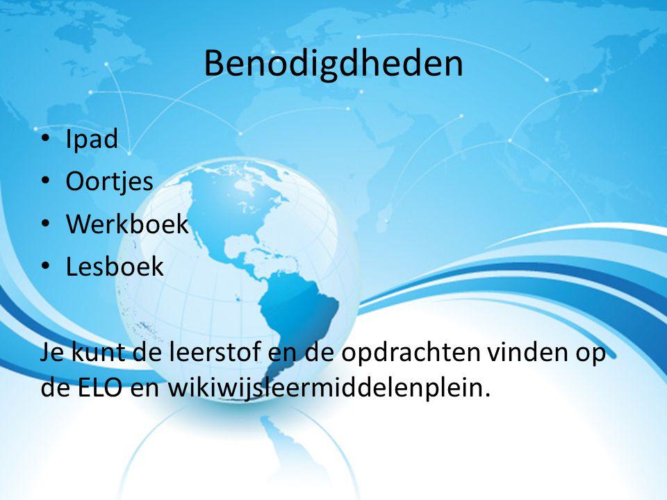 Benodigdheden Ipad Oortjes Werkboek Lesboek