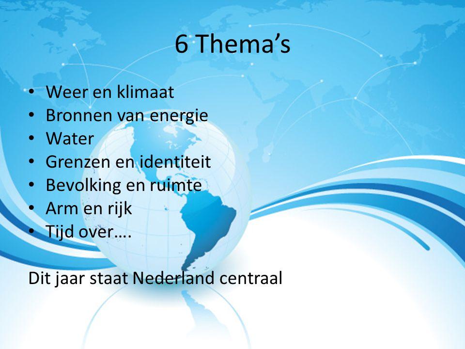 6 Thema's Weer en klimaat Bronnen van energie Water