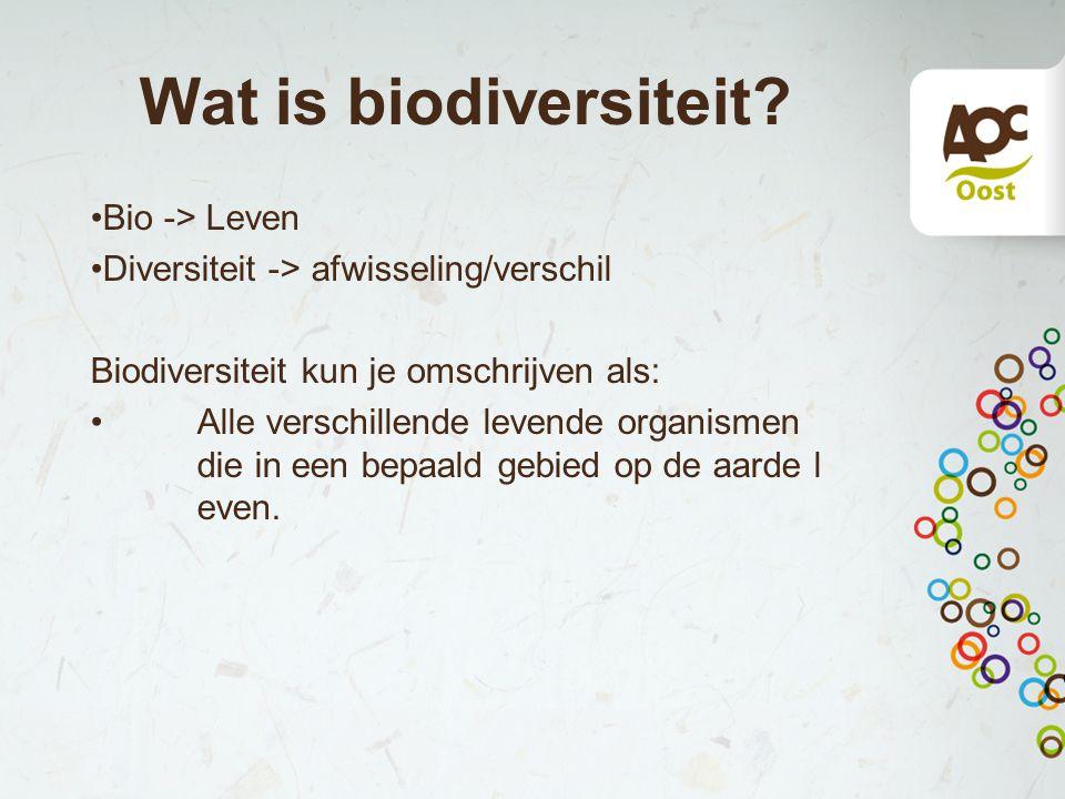 Wat is biodiversiteit Bio -> Leven