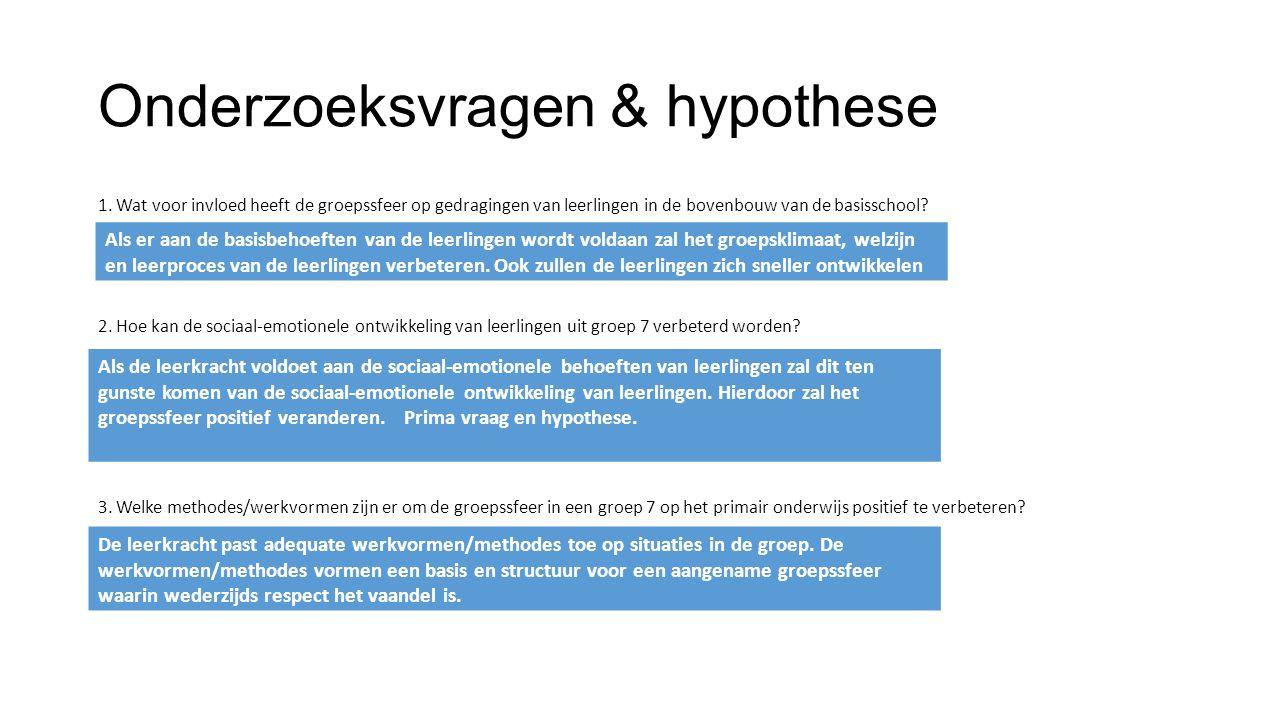 Onderzoeksvragen & hypothese