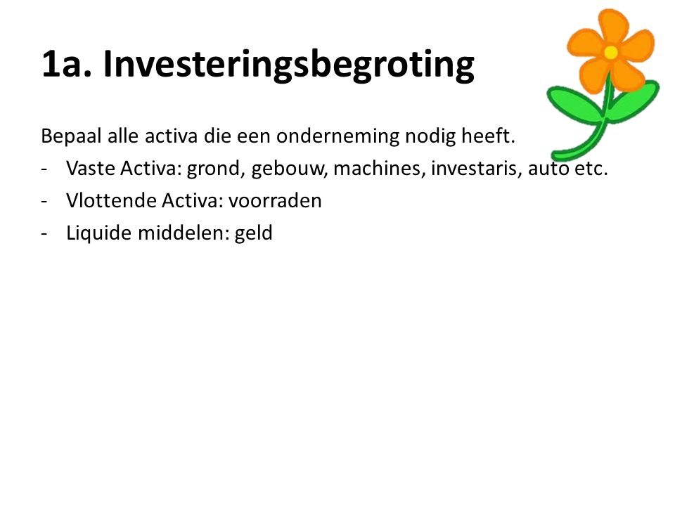 1a. Investeringsbegroting