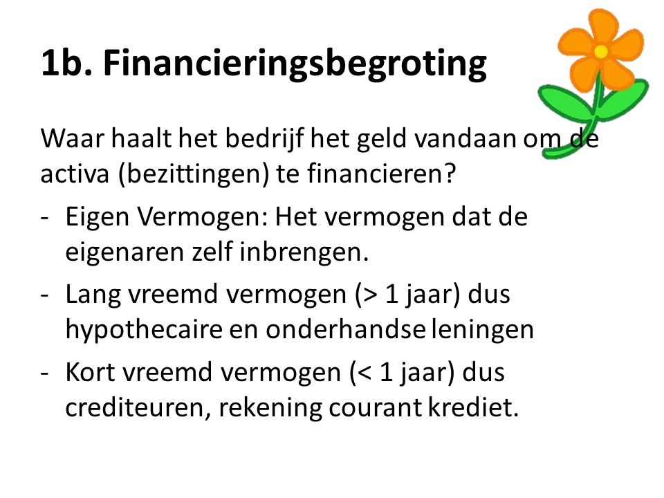 1b. Financieringsbegroting