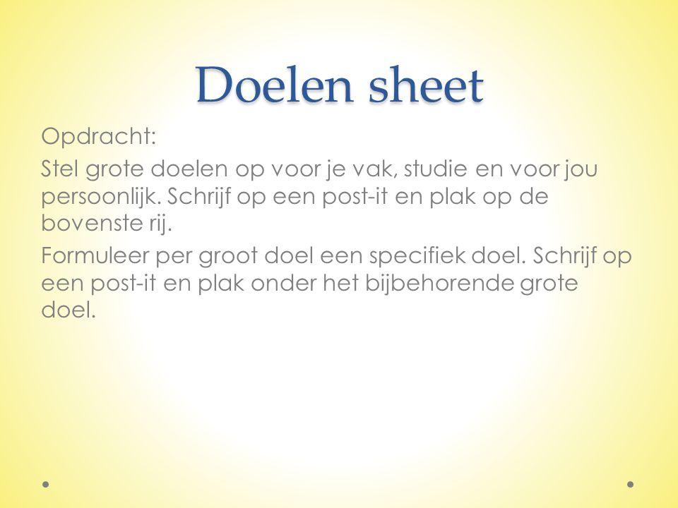 Doelen sheet