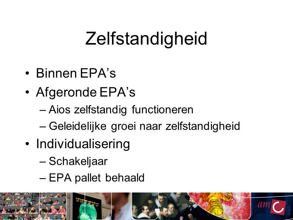 Zelfstandigheid Binnen EPA's Afgeronde EPA's Individualisering