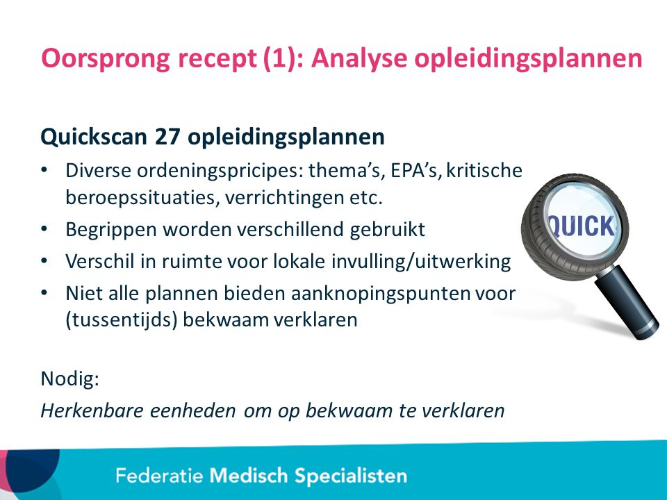 Oorsprong recept (1): Analyse opleidingsplannen
