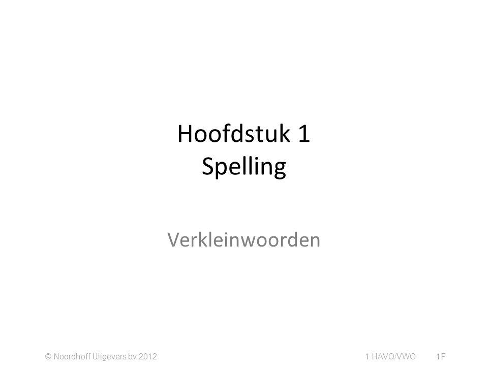 Hoofdstuk 1 Spelling Verkleinwoorden