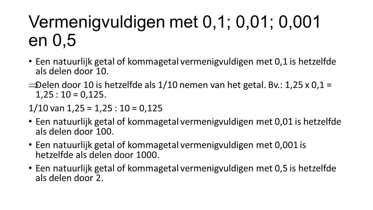 Vermenigvuldigen met 0,1; 0,01; 0,001 en 0,5