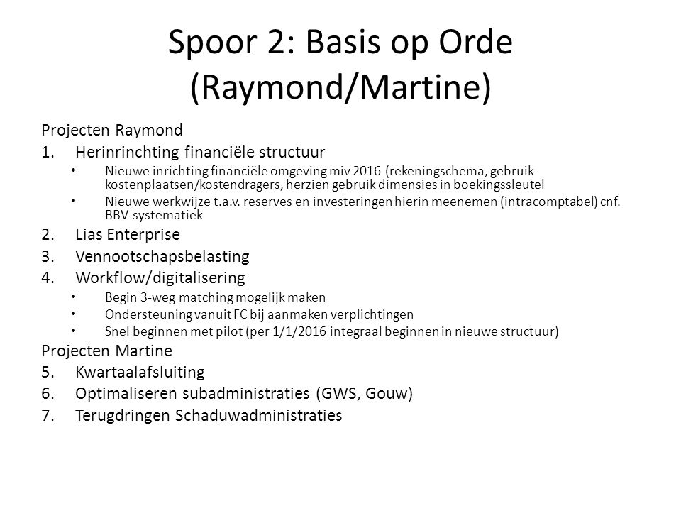Spoor 2: Basis op Orde (Raymond/Martine)