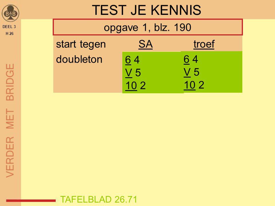 TEST JE KENNIS opgave 1, blz. 190 start tegen SA troef doubleton 6 4
