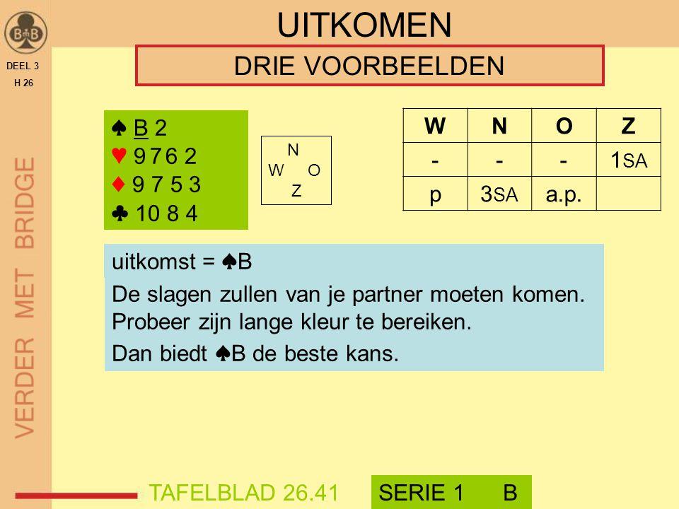 UITKOMEN DRIE VOORBEELDEN ♠ B 2 ♥ 9 7 6 2 ♦ 9 7 5 3 ♣ 10 8 4 ♠ B 2