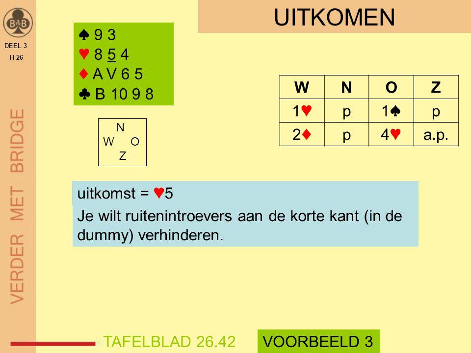 UITKOMEN ♠ 9 3 ♥ 8 5 4 ♦ A V 6 5 ♣ B 10 9 8 ♠ 9 3 ♥ 8 5 4 ♦ A V 6 5