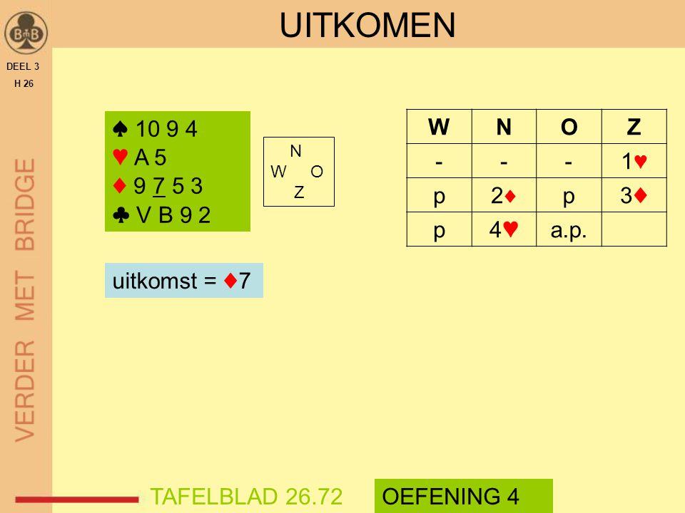 UITKOMEN DEEL 3. H 26. ♠ 10 9 4. ♥ A 5. ♦ 9 7 5 3. ♣ V B 9 2. ♠ 10 9 4. ♥ A 5. ♦ 9 7 5 3. ♣ V B 9 2.