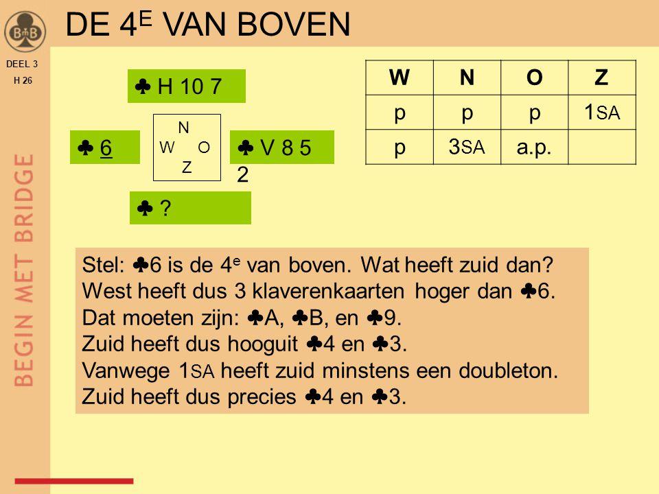 DE 4E VAN BOVEN W N O Z p 1SA 3SA a.p. ♣ H 10 7 ♣ 6 ♣ V 8 5 2 ♣