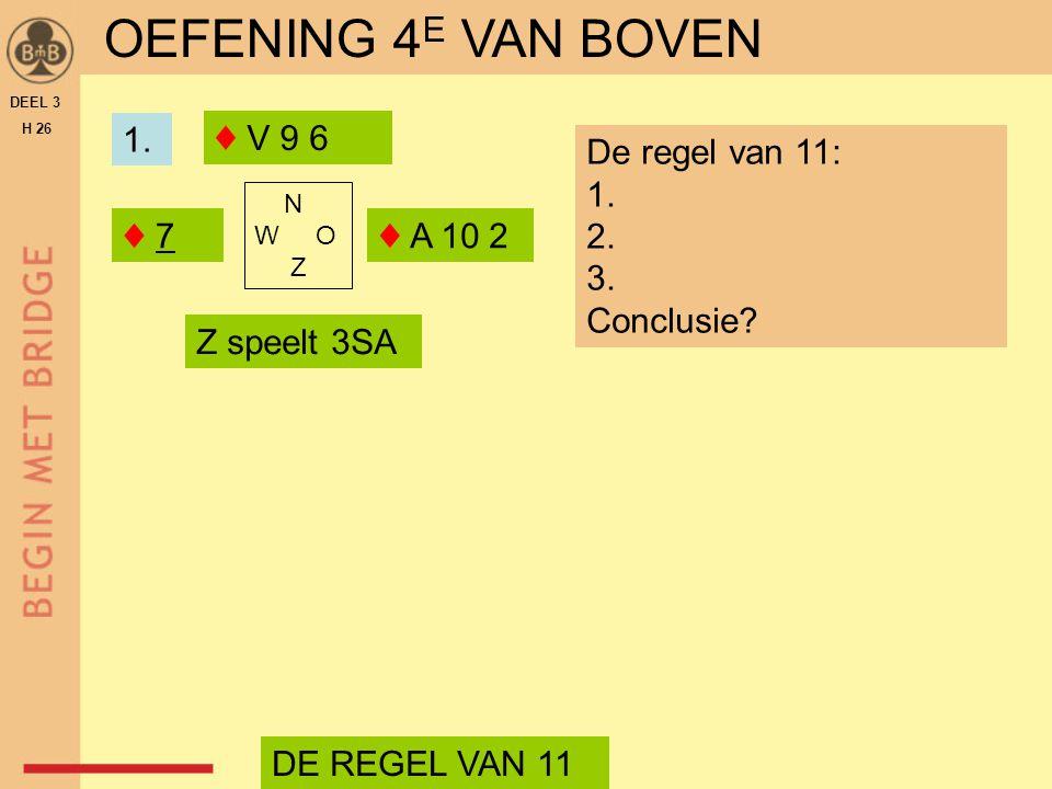OEFENING 4E VAN BOVEN 1. ♦ V 9 6 De regel van 11: Conclusie ♦ 7