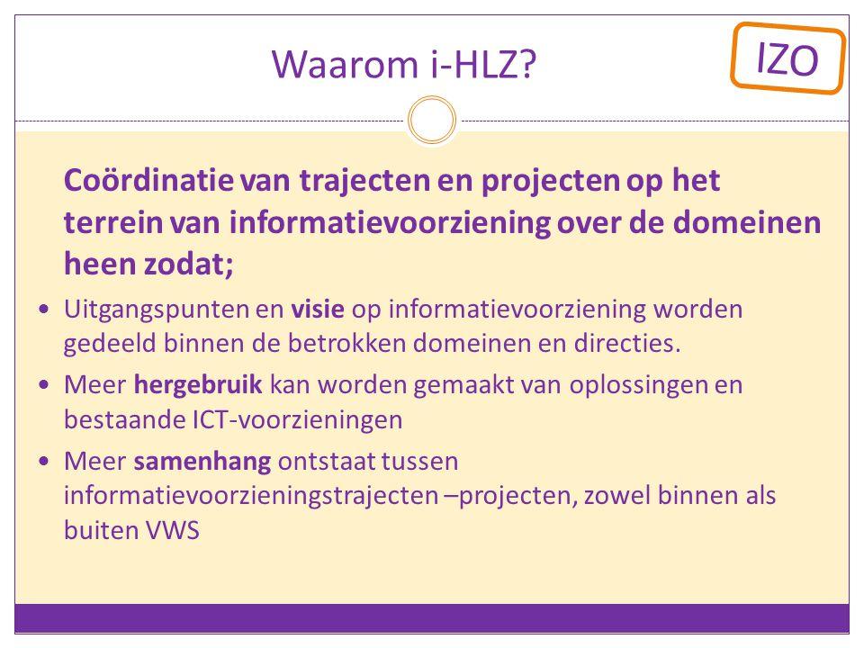 Waarom i-HLZ Coördinatie van trajecten en projecten op het terrein van informatievoorziening over de domeinen heen zodat;
