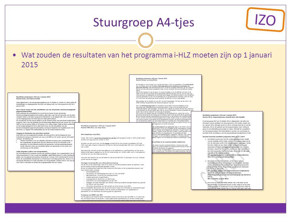 Stuurgroep A4-tjes Wat zouden de resultaten van het programma i-HLZ moeten zijn op 1 januari 2015