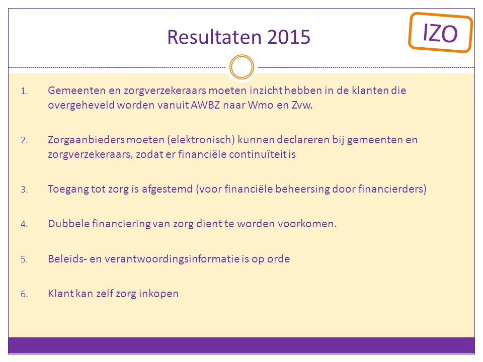 Resultaten 2015 Gemeenten en zorgverzekeraars moeten inzicht hebben in de klanten die overgeheveld worden vanuit AWBZ naar Wmo en Zvw.