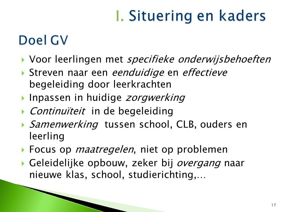 Doel GV Voor leerlingen met specifieke onderwijsbehoeften