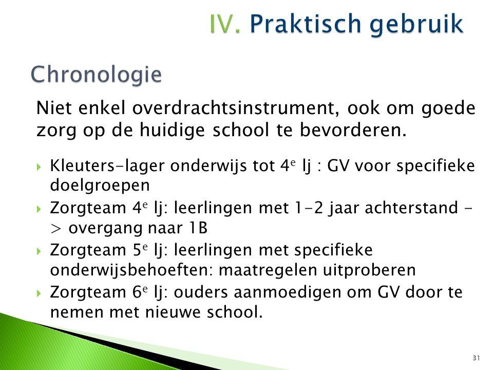 IV. Praktisch gebruik Chronologie. Niet enkel overdrachtsinstrument, ook om goede zorg op de huidige school te bevorderen.