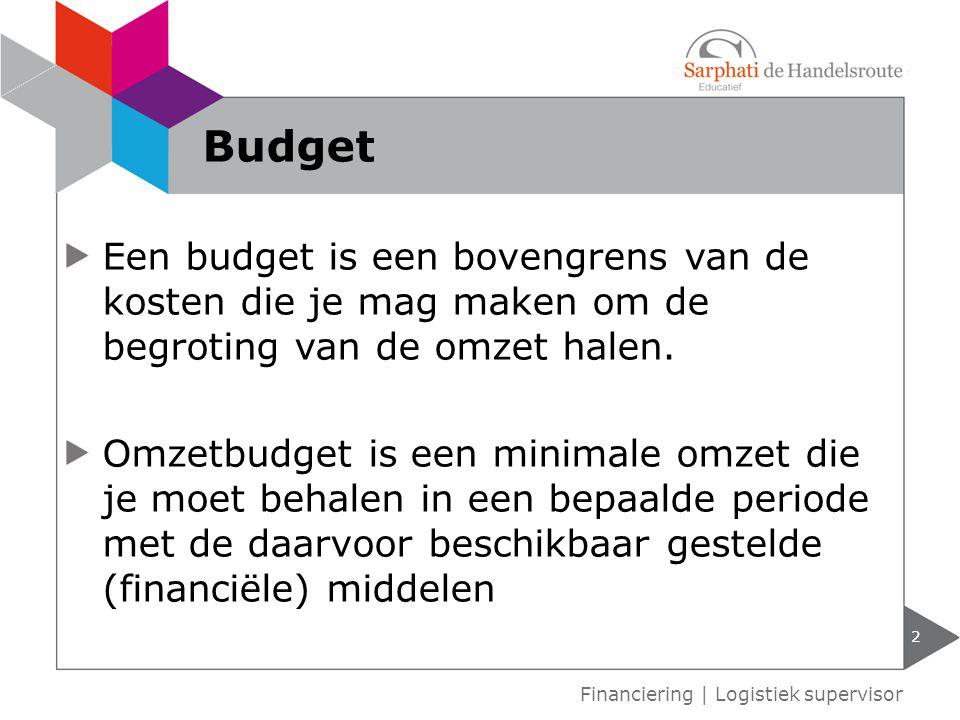 Budget Een budget is een bovengrens van de kosten die je mag maken om de begroting van de omzet halen.