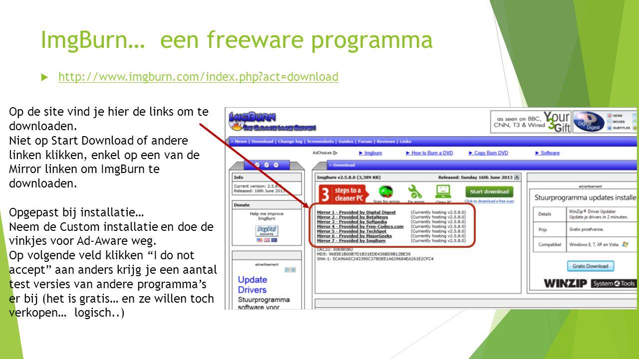 ImgBurn… een freeware programma