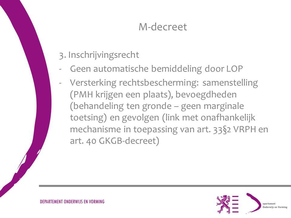 M-decreet 3. Inschrijvingsrecht Geen automatische bemiddeling door LOP