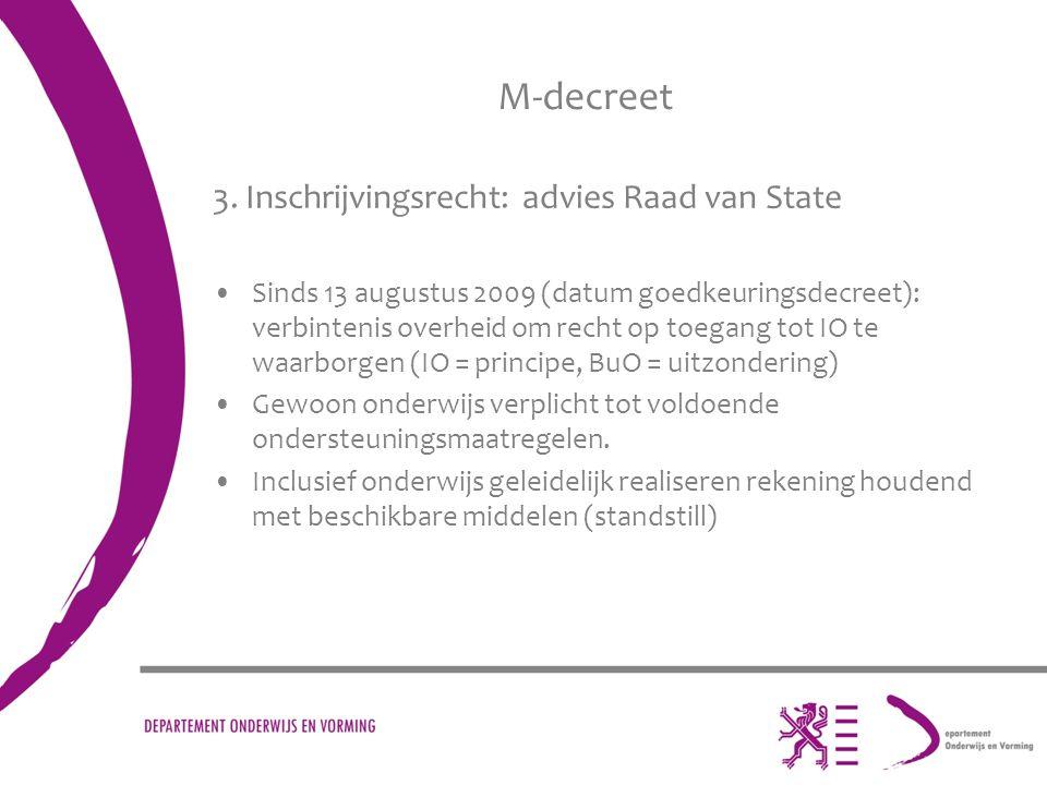 M-decreet 3. Inschrijvingsrecht: advies Raad van State
