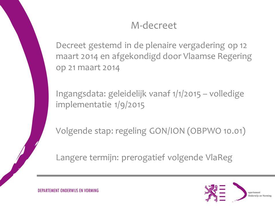 M-decreet Decreet gestemd in de plenaire vergadering op 12 maart 2014 en afgekondigd door Vlaamse Regering op 21 maart 2014.