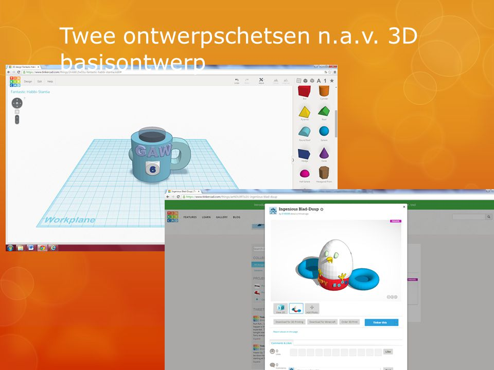 Twee ontwerpschetsen n.a.v. 3D basisontwerp