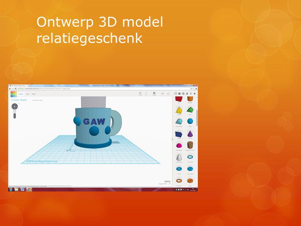 Ontwerp 3D model relatiegeschenk