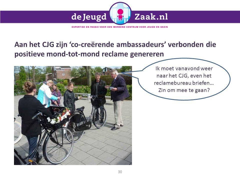 Aan het CJG zijn 'co-creërende ambassadeurs' verbonden die positieve mond-tot-mond reclame genereren