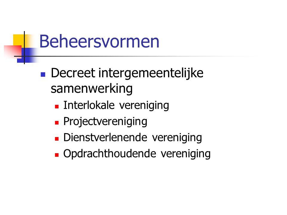 Beheersvormen Decreet intergemeentelijke samenwerking