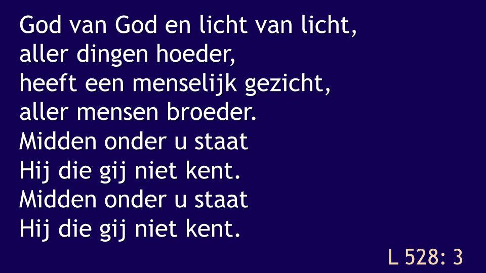 God van God en licht van licht, aller dingen hoeder, heeft een menselijk gezicht, aller mensen broeder. Midden onder u staat Hij die gij niet kent.