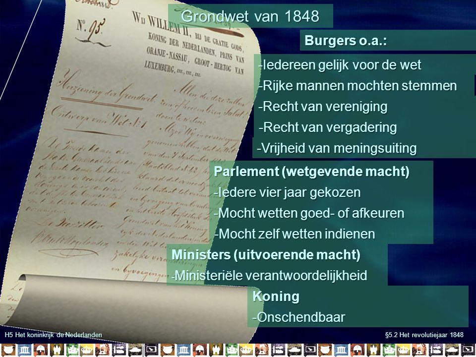 Grondwet van 1848 Burgers o.a.: -Iedereen gelijk voor de wet