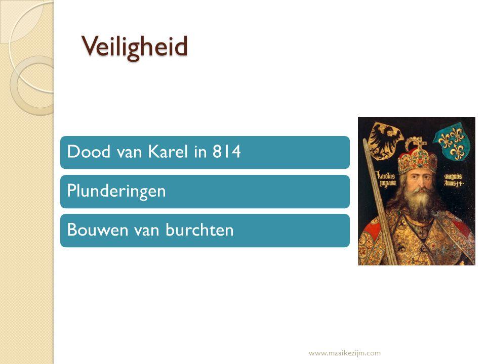 Veiligheid Dood van Karel in 814 Plunderingen Bouwen van burchten
